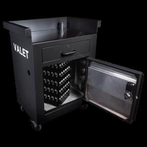 Defender 40 - internal shot of secure valet parking stand